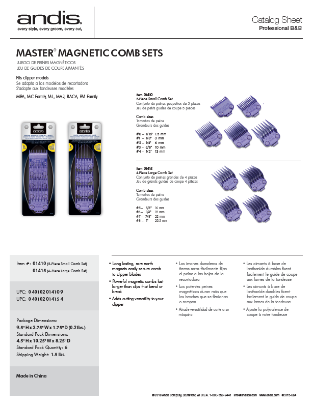 01410 Master Magnetic Combs Catalog Sheet