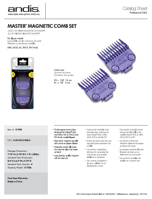 01900 Master Magnetic Combs Catalog Sheet