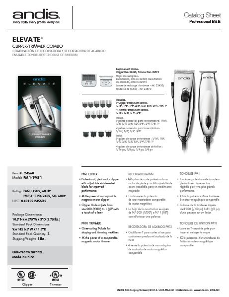 24560 Elevate Clipper Trimmer Combo Catalog Sheet