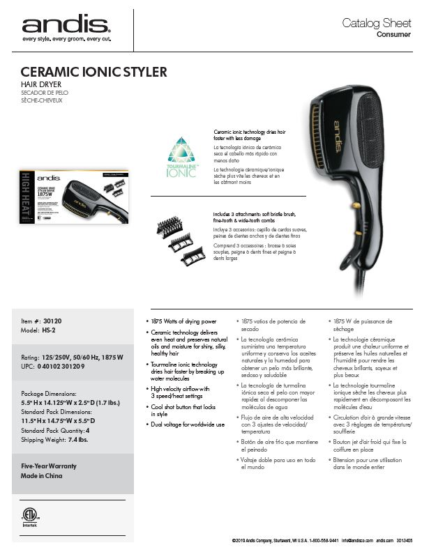 30120 Ceramic Ionic Styler Catalog Sheet