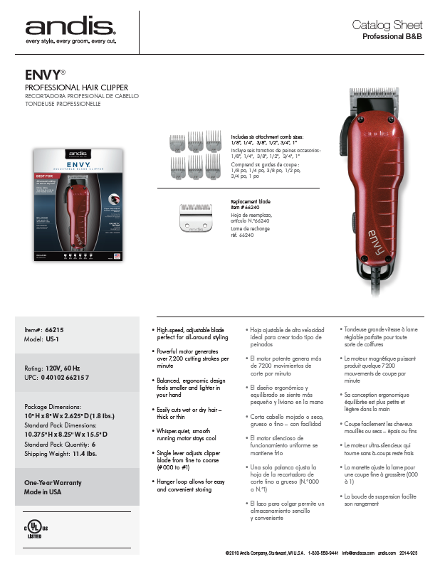 66215 Envy™ Adjustable Blade Clipper