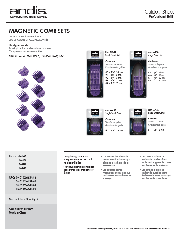66320 Magnetic Combs Catalog Sheet