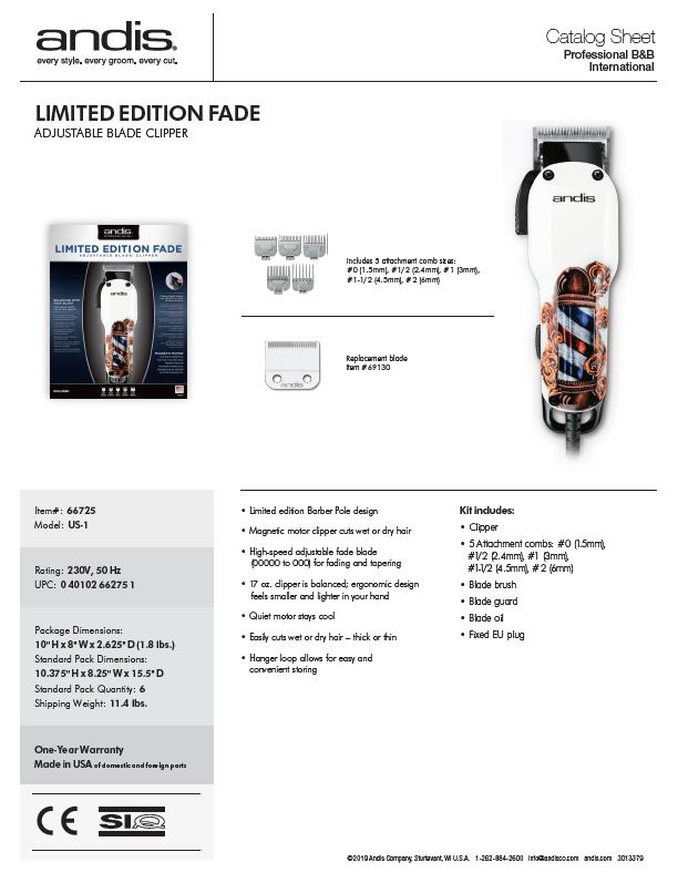 66725 Limited Edition Barber Pole Fade Clipper Catalog Sheet