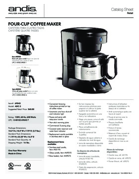 69045 4-Cup Coffee Maker w/Auto Shut-Off, Stainless Steel Carafe - Black