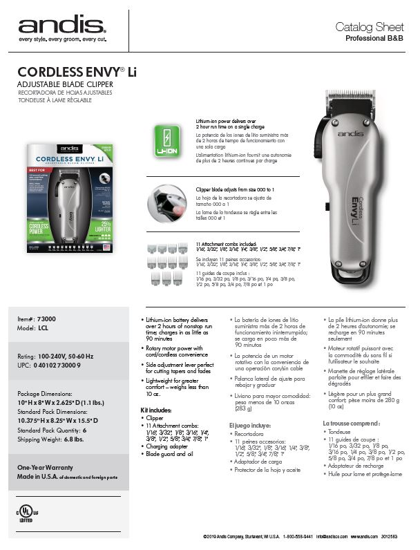 73000 Cordless Envy Li Clipper Catalog Sheet
