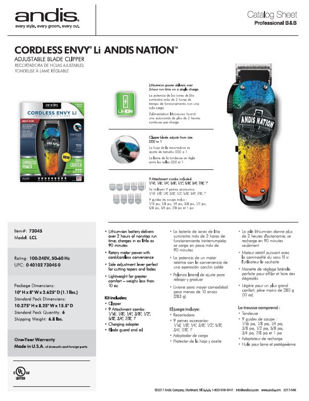 73045 Cordless Envy Li Andis Nation Catalog Sheet