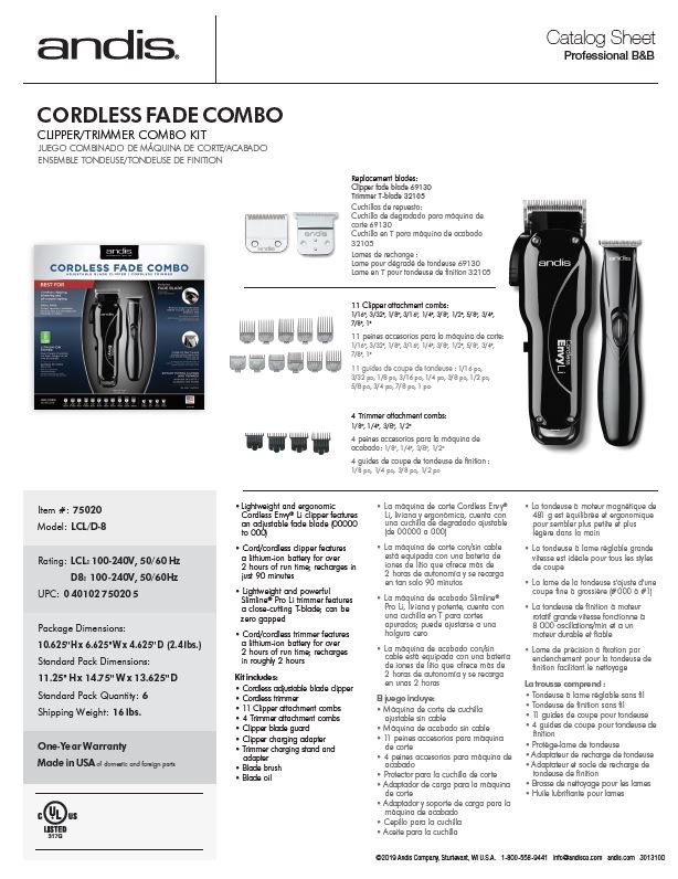 75020 Cordless Fade Combo Catalog Sheet