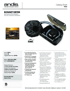80610 Bonnet Hair Dryer Catalog Sheet