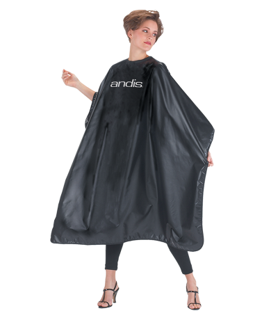 Black Cape with Andis® Logo (One Size) Attachment Combs and Accessories