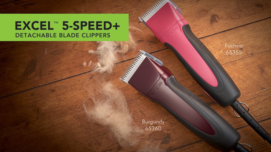 Excel 5-Speed Plus Clippers 65355 Fuchsia and 65360 Burgundy