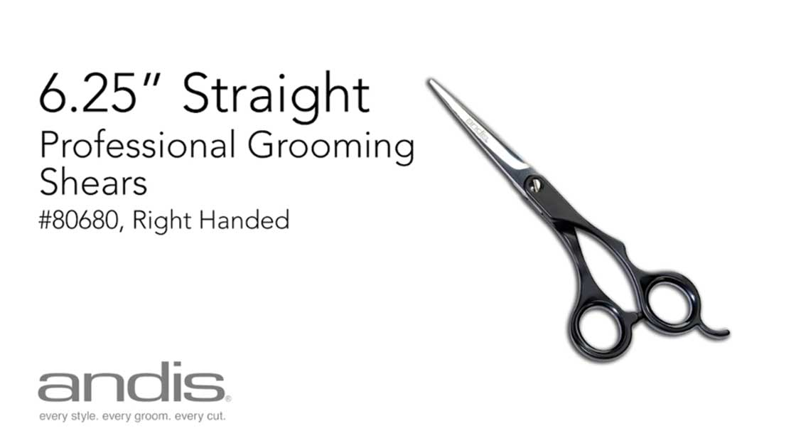 80680 - Andis Professional Animal Grooming Shears - 6.25 Inch Straight Shears, Right Handed